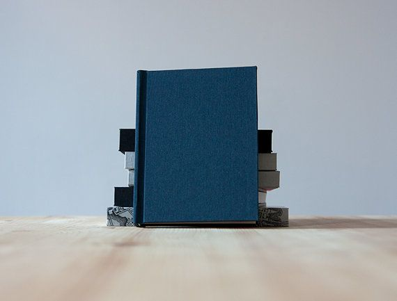 Small Navy Book Cloth Hardcover Notebook  Journal  by knotbooks