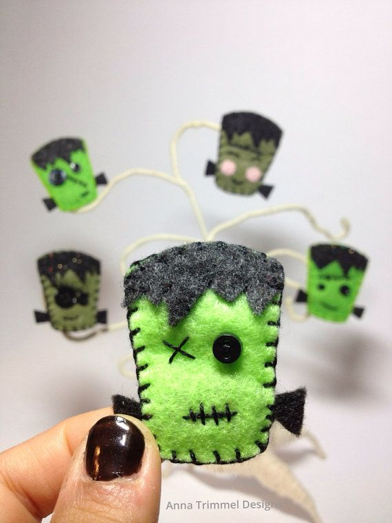 Frankenstein Felt pin brooch handmade Halloween on Etsy, $8.00