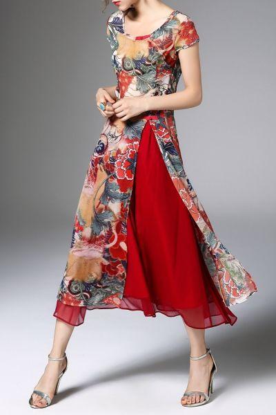 High Slit Print Midi Dress with Skirt - RED XL