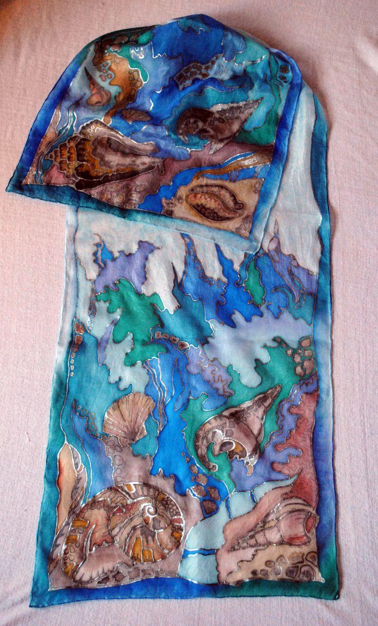 Silk scarf Sea shells Hedvábná šála Mořské ulity 35x130 cm