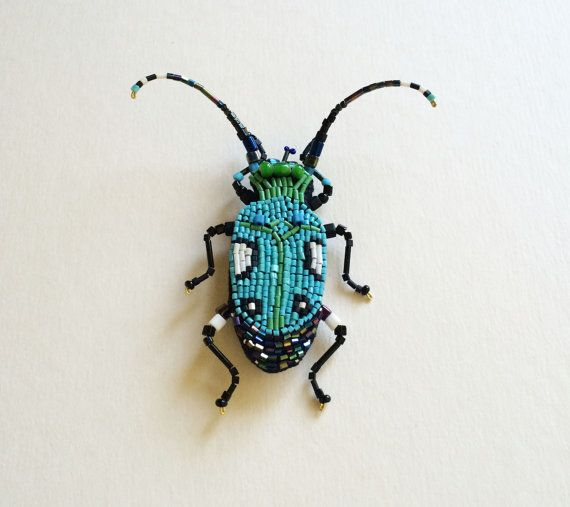 Beetle brooch.Embroidery brooch. insect jewelry.Original gift .Insect in the…