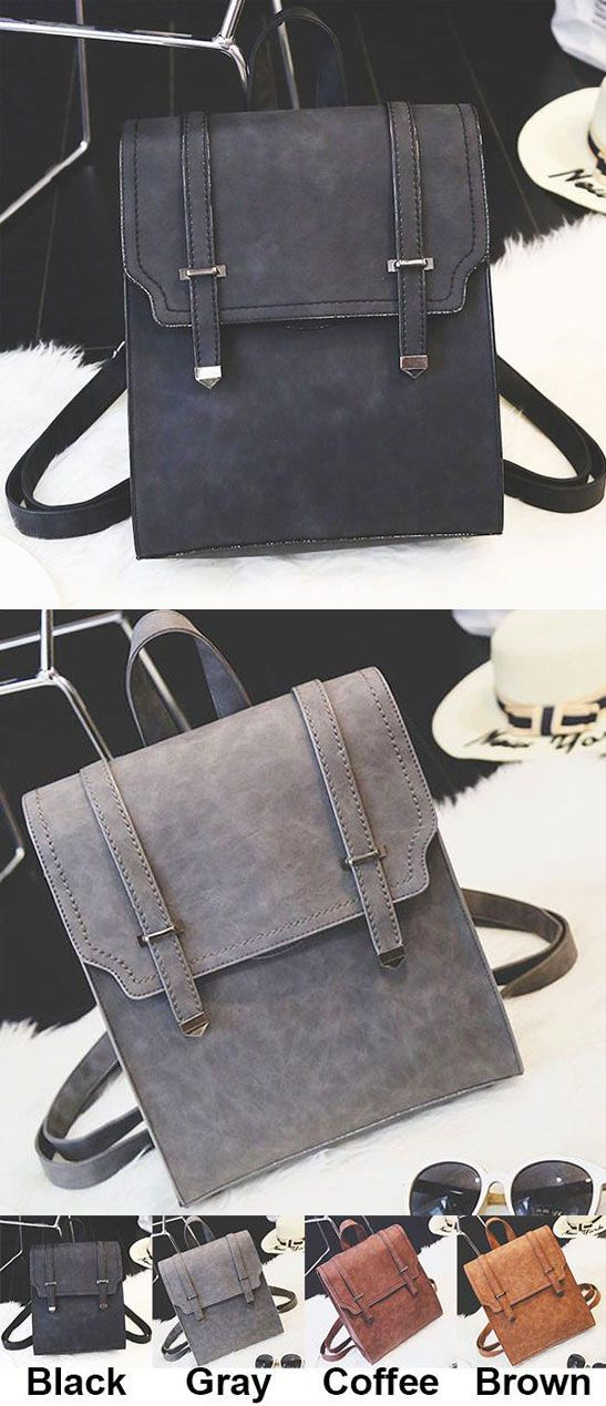 Retro Matte Square PU Metal Lock Match Large Scrub College Backpack for big sale! #large #square #school #student #college #fashion #sweet #backpack #Bag #canvas #rucksack #travel