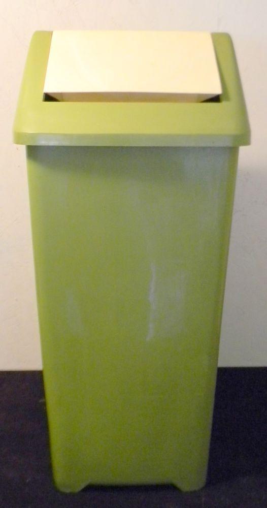Vintage Plastic Green Box Flip Trash Garbage Can Kitchen