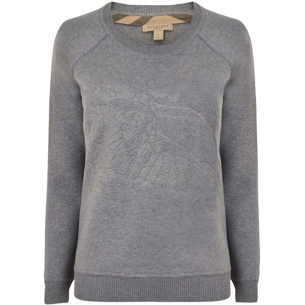 BURBERRY BRIT Embossed Horse Sweatshirt (750 BRL) ❤ liked on Polyvore featuring tops, hoodies, sweatshirts, pullover, mid grey, pullover sweatshirt, grey pullover, long sleeve pullover, sweater pullover and grey sweatshirt