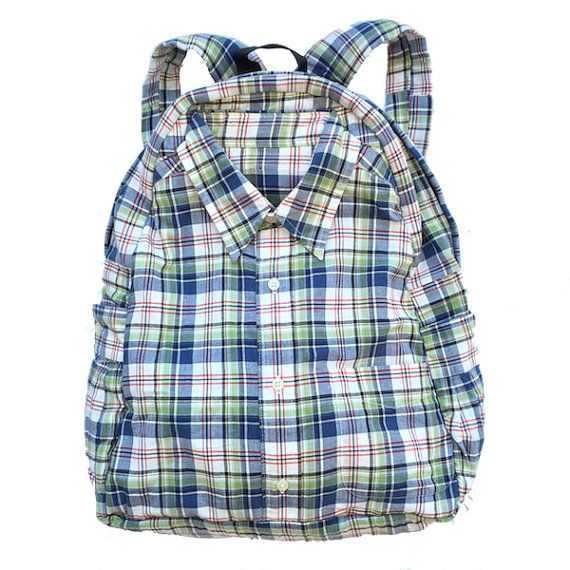 Handmade backpack made from some awesome plaid cotton fabric. Shirt backpack.