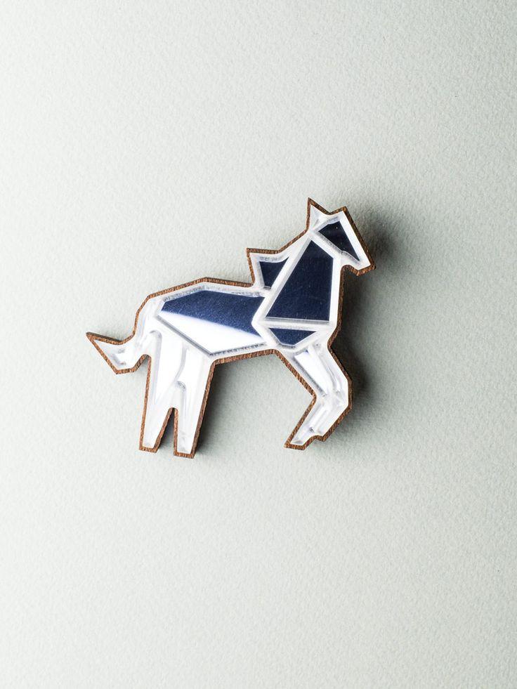 Mirror Horse Brooch #jewelry #design #brooch