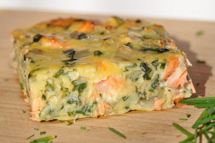 Délicieuse quiche sans pâte  au saumon frais et aux bettes : réduire quantité de farine : mettre 120 grammes moitié complète moitié fécule et remplacer fromage râpe par autre :)