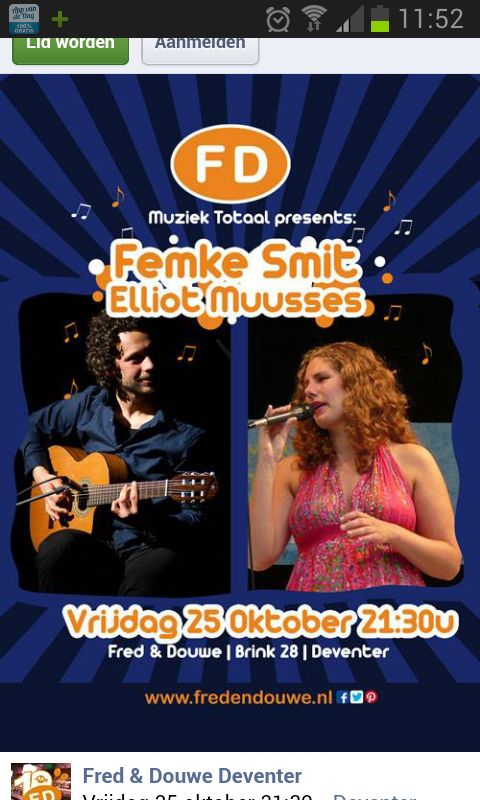@fddeventer Femke Smit & Elliot Muusses #muziektotaal #deventer #livemuziek @Fred en Douwe City lounge
