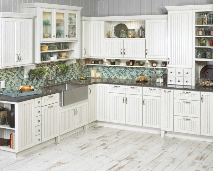 Best White Wooden Kraftmaid Cabinets With Gray Countertop And 400 x 300