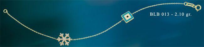 14K SOLID GOLD EVIL EYE GOOD LUCK ENAMEL SNOWFLAKE BRACELET BLB013 #BeeloGold #Chain