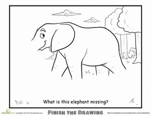 Second Grade Animals Worksheets: Finish the Drawing: What is this Elephant Missing?