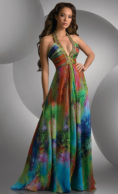 Size 12 Colorful Print Shimmer Deep V Neck Prom Dress 59438 by Bari Jay at frenchnovelty.com