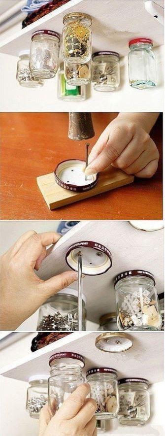 Aus alten Einmachgläsern mach neu: Aufbewahrbehälter auf die DIY Art! Einmachgläser Schrauben Werkzeug Viel Spass beim Bohren!