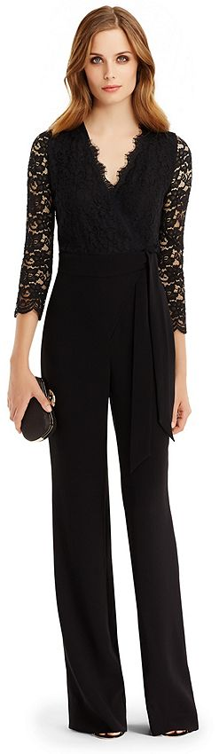 DVF Marlowe Lace Combo Jumpsuit