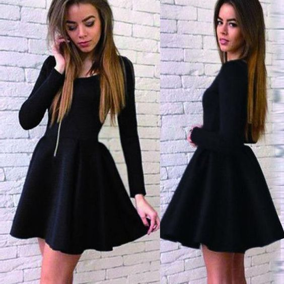 Short Prom Dress,Black Homecoming Dress,Full Sleeve Homecoming Dresses