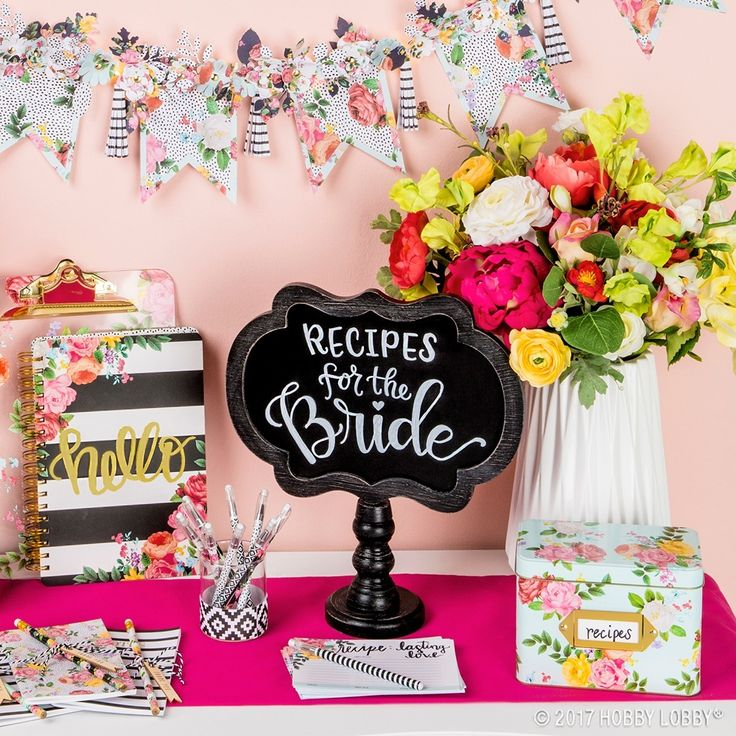 DIY your way to bridal shower perfection! We turned ready-to-go office essentials—cards, storage boxes and more—into all-about-the-bride decor.