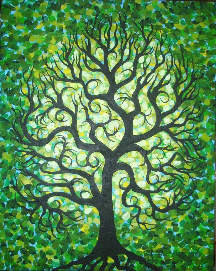 Abstract Green TREE, Original art, Textered, Original Acrylic painting by Jordanka Yaretz by treeartist on Etsy