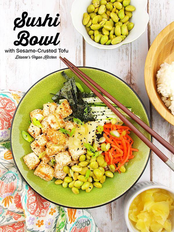 Vegan Sushi Bowl with Sesame-Crusted Tofu from The Veginner's Cookbook by Bianca Haun & Sascha Naderer (gluten-free) >> Dianne's Vegan Kitchen