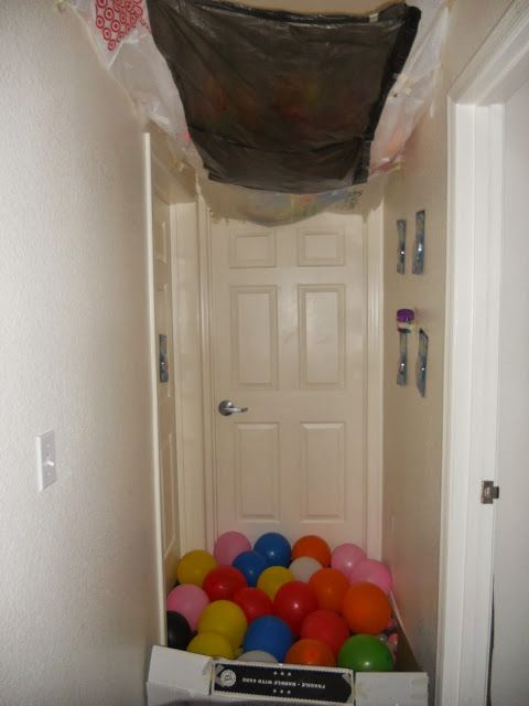 Birthday surprise with balloon avalanche. Super easy to do and lets you drop more balloons than the balloons taped on the door idea.