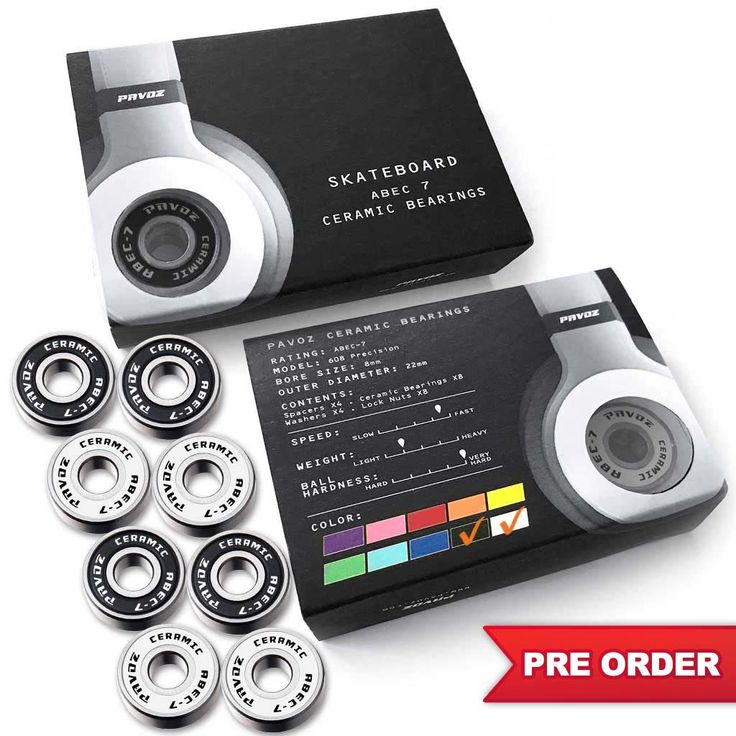 Pro Ceramic Skateboard Bearings Top Quality High Speed No Rust ABEC-7 Black & White V2.0 - PRE ORDER