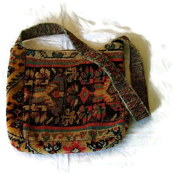 """Small Carpet Bag Never Owned Made of Antique Oriental Carpet (2 distinct kinds), W 12"""" dr 15"""" D 4"""" H 12"""", silk lining, 2 inner pockets"""