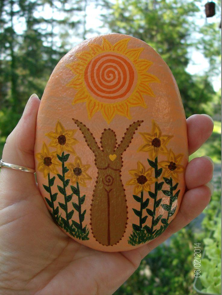 Summer/Sun Goddess Altar Stone MADETOORDER by MarciaStewartArt