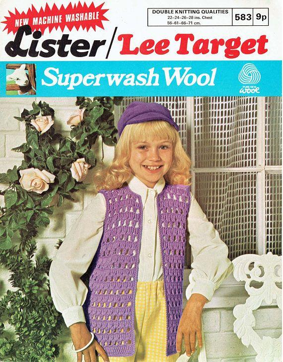 PDF Vintage Girls PURPLE Waistcoat Crochet Pattern Gilet EASY