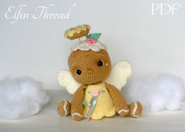 Elfin Thread- Vintage Gingerbread Angel Chookie Amigurumi PDF pattern (Gingerbread Crochet PDF Pattern) by ElfinThread on Etsy