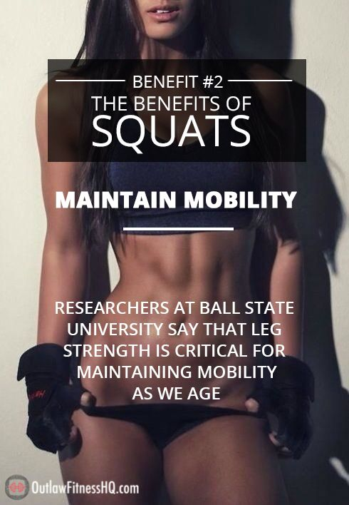 Maintain Your Mobility: Research shows leg strength is critical for maintaining mobility as we age. Additionally, squats can help reduce or remove knee pain when done correctly, just as deadlifts can help with lower back pain. Ask your certified personal trainer for info on proper form... #Seniors #Fitness #Mobility