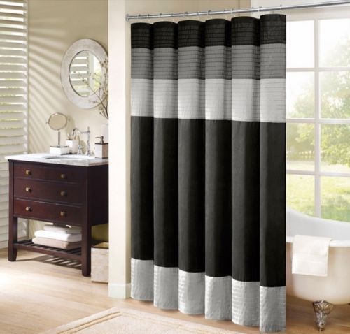 Madison park striped shower curtain polyester fabric black - Madison park bathroom accessories ...
