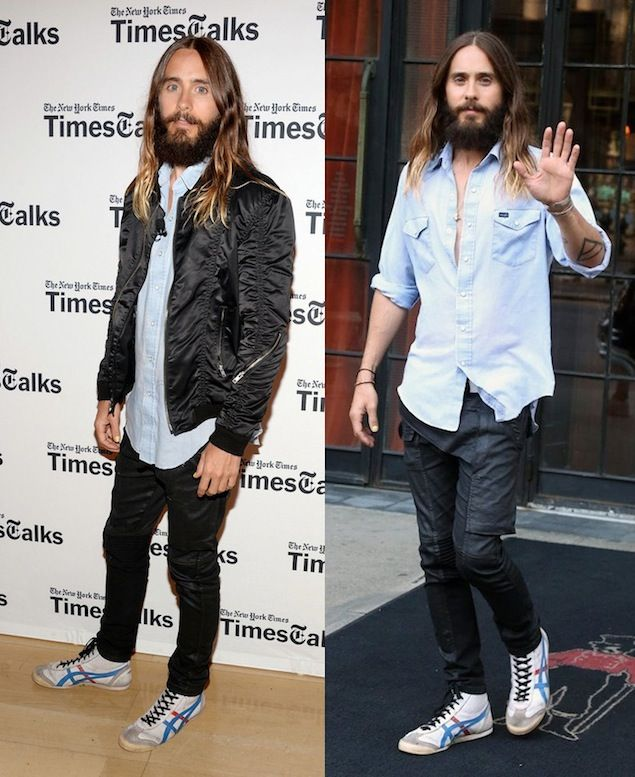 Jared Leto Wears Wrangler Shirt, Rick Owens Jeans and Onitsuka Tiger Sneakers for NY Times Interview