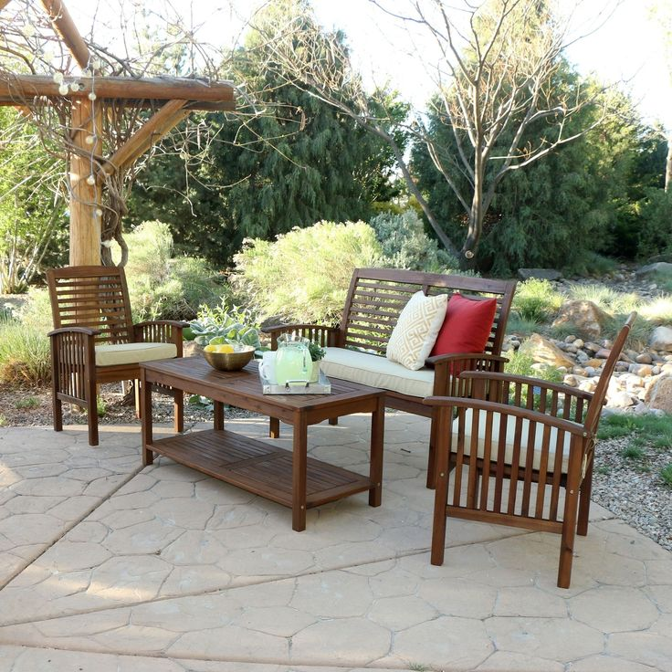 4 Piece Acacia Wood Patio Conversation Set, Brown, Size 4 Piece Sets