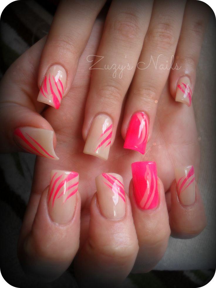 Acrylic nails Uñas decoradas Neon pink Nails
