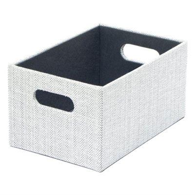 Herringbone Gray Small Fabric Storage Bin