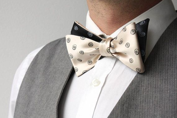 Mens bowtie black and creme Day and Night 100%Natural Pure
