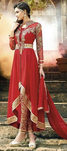434066, Party Wear Salwar Kameez, Faux Georgette, Stone, Lace, Resham, Red and Maroon Color Family
