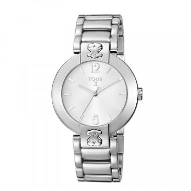 TOUS Plate Round watch. Stainless steel case and bracelet. Optical round mineral crystal. 5ATM water resistance. Japanese quartz movement. Jewelry closure.