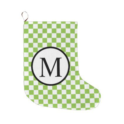 #monogrammed - #Simple Monogram with Yellow Green Checkerboard Large Christmas Stocking