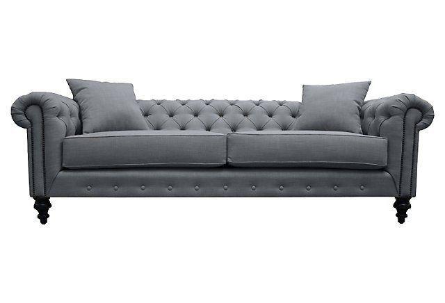 Saretta Tufted Chesterfield Sofa, Gray | One Kings Lane