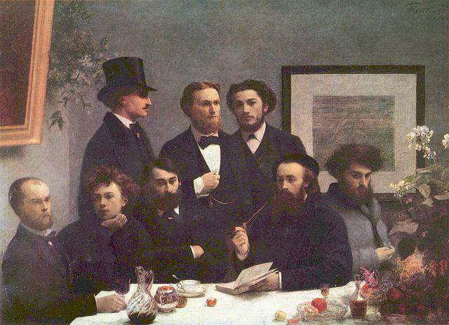 Verlaine on far left, Rimbaud next to him, in London