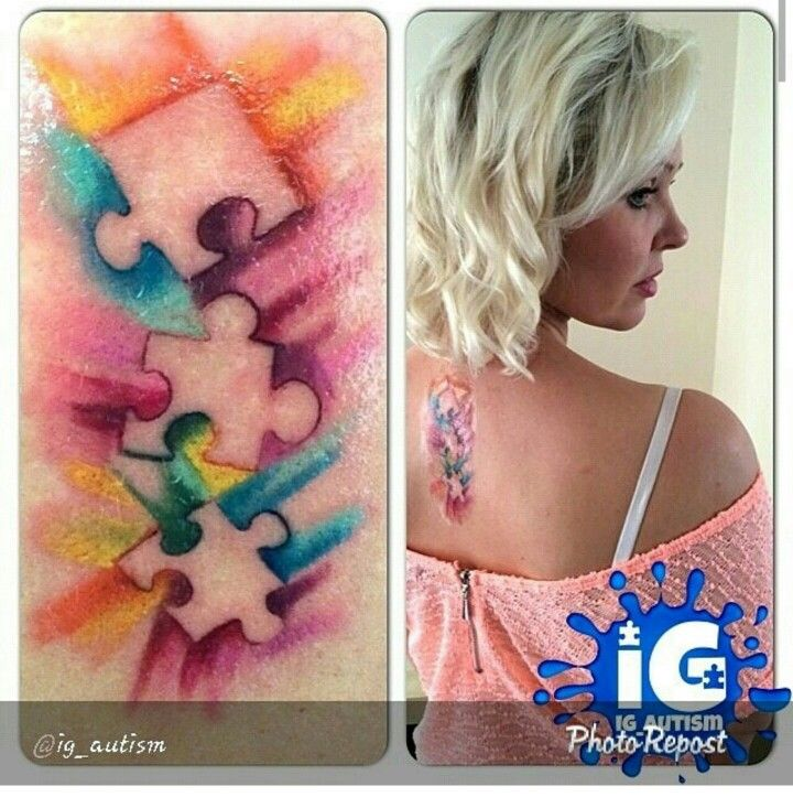Watercolor autism tattoo