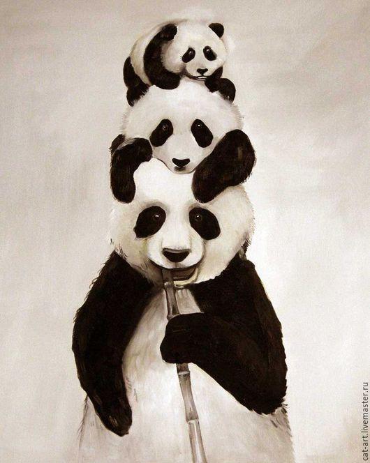 Oil painting / Животные ручной работы. Ярмарка Мастеров - ручная работа. Купить Панда семья_авторская картина маслом на холсте ручной работы. Handmade.