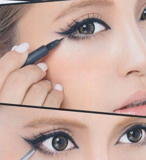 If you have small eyes (like me) you can do this make-up to make them look bigger.
