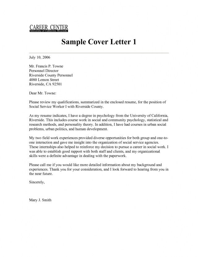 23 Social Work Cover Letter Resume
