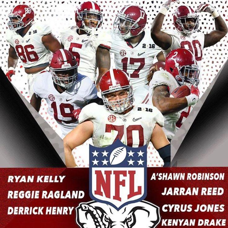Ryan Kelly- Round 1 Pick 18, (18) Indianapolis Colts; Reggie Ragland- Round 2 Pick 10, (41) Buffalo Bills; Derrick Henry- Round 2 Pick 14, (45) Tennessee Titans; A'Shawn Robinson- Round 2 Pick 15, (46) Detroit Lions; Jarran Reed- Round 2 Pick 18, (49) Seattle Sehawks; Cyrus Jones- Round 2 Pick 29, (60) New England Patriots; Round 3 Pick 10, (73) Miami Dolphins