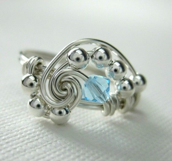 Personalized+Birthstone+Ring+in+Pi++Wire+Wrapped+by+holmescraft,+$24.00