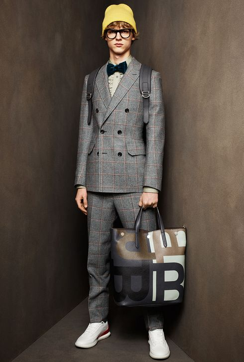 Grey checks Suit - Large Bow Tie - Bally AW16 Menswear 2