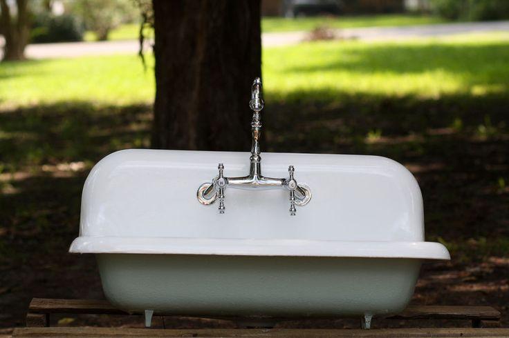 Vintage Kohler 30 Wide High Back Cast Iron Farmhouse Sink