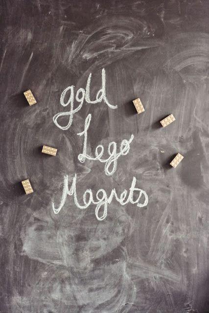 DIY gold lego magnets