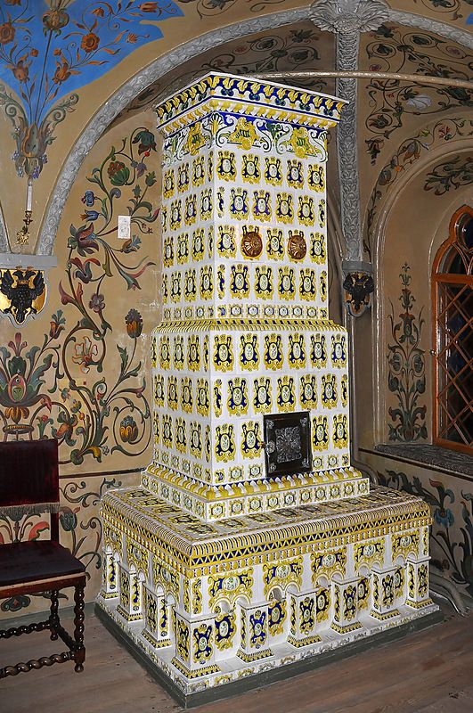 Inside The Terem Palace, Moscow Kremlin. Russian oven of the 17th century